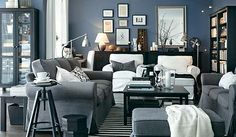 Benjamin Moore Bachelor Blue - a masculine blue that also works for a feminine space