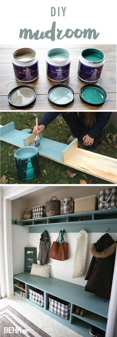 Ana from Ana White introduced a pop of color into her home with the BEHR 2018 Color of the Year: In The Moment. This DIY coat and shoe rack adds storage and style to Anas mudroom. Ana also used Road Less-Traveled and Equilibrium from the BEHR 2018 Col Ana White, Shoe Storage Diy, Boot Storage, Coat And Shoe Rack, Cool Ideas, Diy Ideas, Behr, Home Projects, Decoration