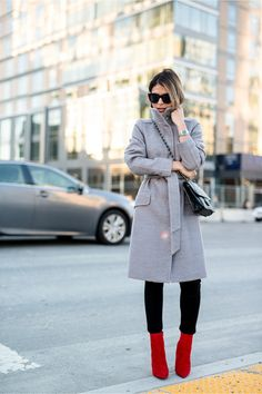 Red-faux-suede-aldo-boots-heather-gray-high-collar-h-m-coat