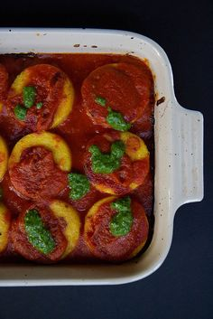 Crispy Baked Polenta with Smoky Tomato Sauce and Pesto Drizzle