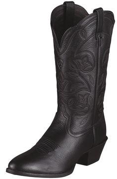 Ariat� Womens Heritage Western R Toe Cowboy Boots - Black Deertan $149.95