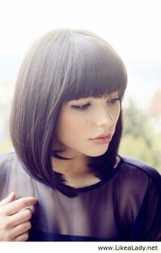Cute bob haircut with bangs! I SOOOOOOO Love the bangs!!! And the length!