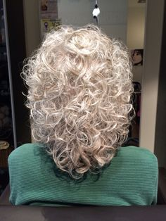 Grey curly hair - I am adding this.this will be mine in a few months but it may be a bit shorter.my hair is curly and I am growing it out now for 7 or 8 months now! best thing i have ever done i (Long Curly Hair) Short Permed Hair, Grey Curly Hair, Silver Grey Hair, Curly Hair Cuts, Permed Hairstyles, Curly Hair Styles, Gray Hairstyles, Long Curly, Silver Haired Beauties