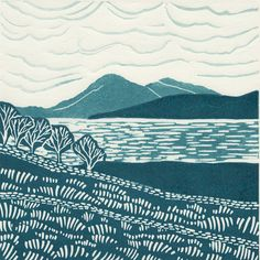 'Skye from Applecross'. Limited edition linocut print. My linocut prints are inspired by nature; my love of gardening and the great British countryside. My interest in 1950s textiles and ceramics also influences much of my work. I love exploring the countryside by bike or on foot, camera in hand, capturing ideas for my next prints. www.michellehughes.co.uk