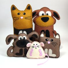 5 Hand Sewing PATTERNS - Cat Dog Kitten Puppy and Mouse - Make Your Own Pet Stuffed Animals - Easy. $12.00, via Etsy.