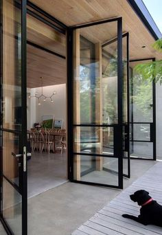 Door Design, Exterior Design, Glass House Design, Design Case, Home Fashion, Windows And Doors, Steel Windows, Black Windows, Big Windows