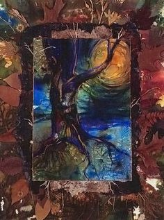 Tree Spirit ... Aceo print from original mixed media painting by Kathy Morton Stanion EBSQ on Etsy, $4.85