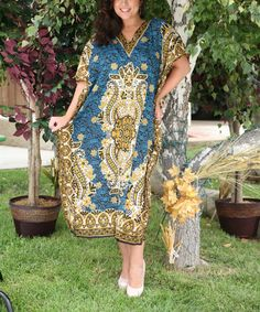 Loving this Royal Blue Floral V-Neck Kaftan - Plus on #zulily! #zulilyfinds  $16.99