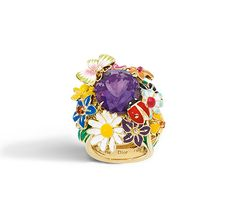 DIORETTE RING, LARGE MODEL,  IN 18K YELLOW GOLD AND AMETHYST