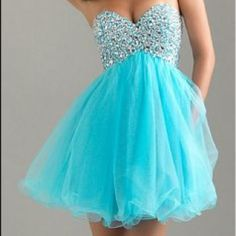 Electric Blue Encrusted Strapless Cocktail Dress ♥