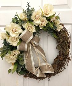 Ivory Rose and Eucalyptus Door Wreath, Front Door Wreath, Spring Wreath, Wedding Wreath, Wreath for Front Door, Wedding Wreaths by Whispering Welcome Diy Spring Wreath, Spring Front Door Wreaths, Diy Wreath, Holiday Wreaths, Grapevine Wreath, Tulle Wreath, Wedding Wreaths, Wedding Flowers, Wedding Decorations