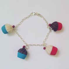 Cupcake Bracelet from The Littlest Cuttlefish Cuttlefish, Sterling Silver Bracelets, Tassel Necklace, Cupcake, Polymer Clay, Pink, Handmade, Jewelry, Products