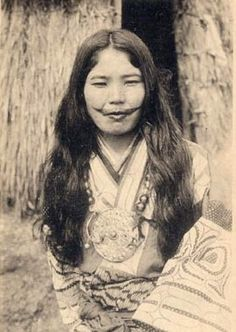 Ainu, indigenous girl with traditional lip tatoo
