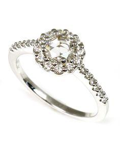 .72ctw Rose Cut Diamond with Halo Engagement Ring by Allison-Kaufman - Wilsonville Diamond