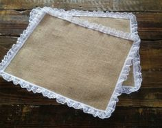Burlap and Lace Placemats, Rustic Table Decor, Burlap and Lace Tablemats, Wedding Placemats, Shabby Chic Table Setting,  Set of 4