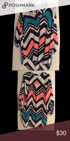 """Sheer Chevron Blouse Worn once. Great condition. Hits the arms mid length. (Cut the tag out of the shirt)       Sleeves: 16""""                                                     Length: 28"""" Tops Blouses"""