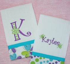Personalized Burp Cloth Set Girl Teal Purple and by PolkaDotKitty, $18.95