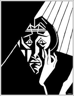 """M. C. Escher- """"Portrait of a Bearded Man""""- 1919, Woodcut."""