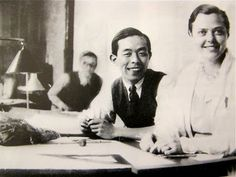 Charlotte Perriand and Kunio Maekawa at Le Corbusier and Pierre Jeanneret's atelier. Le Corbusier, Eames, Behind Every Great Man, Co Design, Graphic Design, Pierre Jeanneret, Charlotte Perriand, Built Environment, Japanese Design