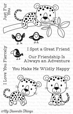 """MFT STAMPS: Lovable Leopards x Clear Photopolymer Stamp Set) This 11 piece set includes Lovable Leopards: Leopards 3 x 1 2 x 1 1 x 1 Birds ¾"""" x Sentiments ranging from x (Just Fur You) to 3 x (You Make Me…) *Coordinates with Lovable Leopards Di"""