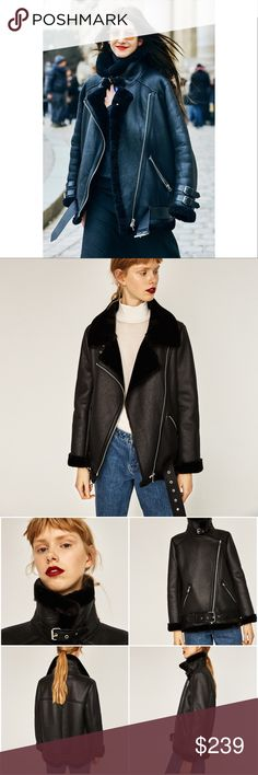 Zara Faux Fur Collar Biker Shearling jacket 💢SOLD OUT Everywhere!💢  💋ACNE Style💋  💋Fashion Blogger's Alex Stedman @thefrugality Favorite Style💋  Product detail: • Brand: Zara • Ref #: 2969/269 • Size: L • Color: Black • Biker jacket with faux fur collar & lining • Side zipped pockets • Tabbed cuffs • Belted hem • Material: BASE FABRIC - 100% Polyester, COATING - 100% Polyurethane, LINING - 100% Polyester • 100% BRAND NEW AND AUTHENTIC WITH TAG Zara Jackets & Coats Pea Coats