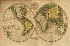 Giant Historic Map 1780 Old Antique World Map by VintageImageryX
