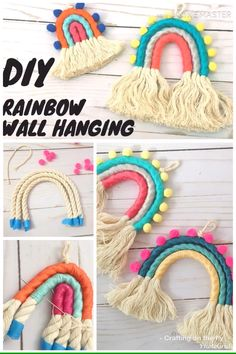 DIY rainbow wall hanging tutorial - crafting on the fly - let . DIY Rainbow Wall Hanging Tutorial – Crafts on the fly – Let this colorful rainbow hang in the n Diy Home Crafts, Easy Diy Crafts, Diy Crafts To Sell, Diy Crafts For Kids, Arts And Crafts, Rope Crafts, Adult Crafts, Wooden Crafts, Diy Crafts Videos