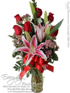 Half Dozen Red Roses With Stargazer Lilies