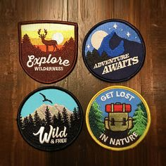465491efd8601 Patches (4 PACK) iron on patch set   vintage patches for backpacks