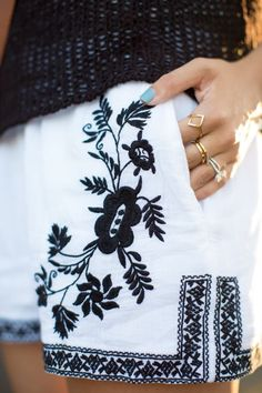 preppy casual with embroidered linen shorts
