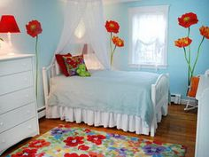 Red Roses Flowers Wall Stickers Decals in Girls Blue Bedroom Paint Decorating Ideas