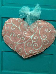 Burlap in Pink swirly heart door hanger by Burlapulous on Etsy, $27.00