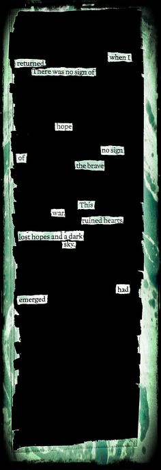 """Ruined Hearts"" by Kevin Harrell  www.blackoutpoetry.net"