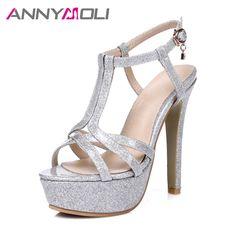 2a4867bb23f70 ANNYMOLI Women High Heels Platform Shoes 2017 Women Elegant Party Shoes  Large Size 33-46
