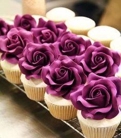 violet rose cupcakes