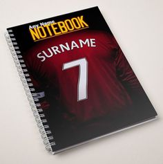 Personalised Football Shirt Notebook - Red | GettingPersonal.co.uk
