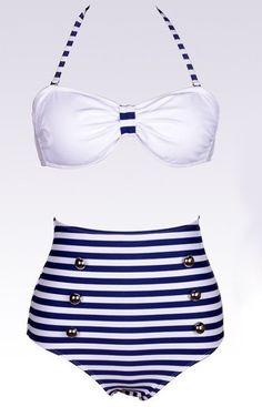 Vintage Halterneck Cross Stripe Six Buttons #Swimsuit