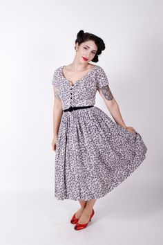 50s Vintage Dress Black Grey Printed Cotton 1950s by stutterinmama, $62.00