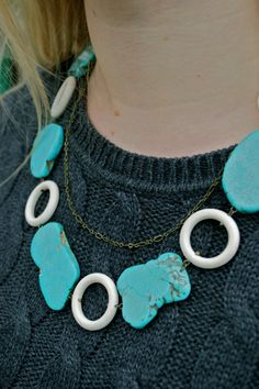 Turquoise Slabs Spaced with White Wood Rounds by AtonementDesign, $58.00