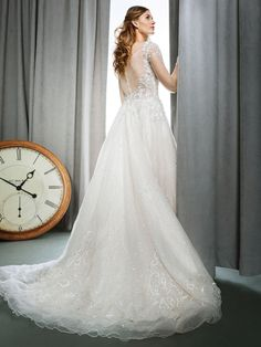 Kenneth Winston Style 1726 | beaded organza gown with sheer long-sleeves in champagne color | luxurious bridal gown