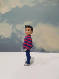 CHELSEA BOY Red and Blue Outfit Grey And Gold, Red And Blue, Blue Pants, Red Stripes, Chelsea, Barbie, Handmade Items, Crochet Hats, Dolls