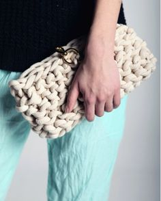 Knitted Cotton Clutch - Roboty Ręczne