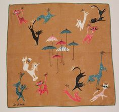 Vintage Pat Prichard Raining Cats and Dogs Hankie by murdups