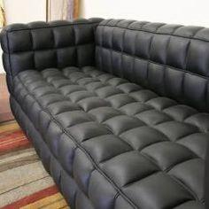 Arriga Black Leather Modern Sofa