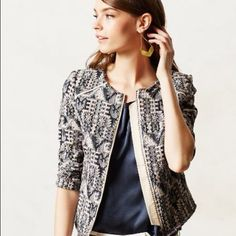 """NWT Anthropologie Faifo Jacket When there's a hint of chill in the air, Hei Hei's textured jacquard jacket is the perfect lightweight layer. Sold out everywhere. New with tags. Size 0/xs. By Hei Hei Zip front Cotton, viscose Dry clean Regular: 21""""L Imported Anthropologie Jackets & Coats"""