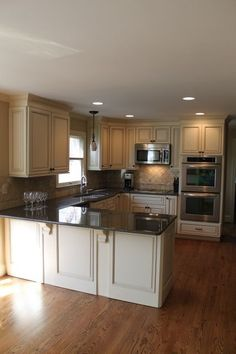 Kitchen Remodel Idea. This is my exact kitchen layout. Just need these nice new cupboards and countertops. Find a Contractor in minutes Free service http://Contractors4you.com Also leads for contractors