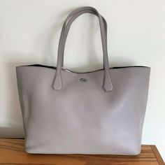 ff79ed5010d Tory Burch Large Brody Tote Bag ~ French Gray Leather Inside Navy Handbag   ToryBurch