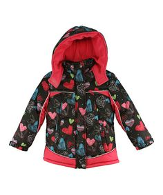 Look what I found on #zulily! Black & Fuchsia Heart Puffer Coat - Infant, Toddler & Girls #zulilyfinds