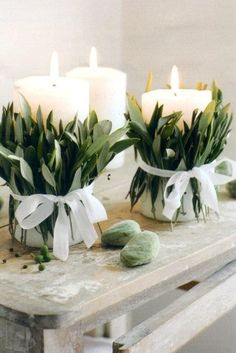 I would use votive candles instead to avoid a sage inferno.  Would make a wonderful centrepiece in sets of 3!