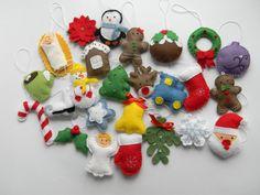Christmas felt ornaments set 25 advent calendar ornaments tree ornament Christmas decor christmas tree decor August 13 2015 at 02:48AM